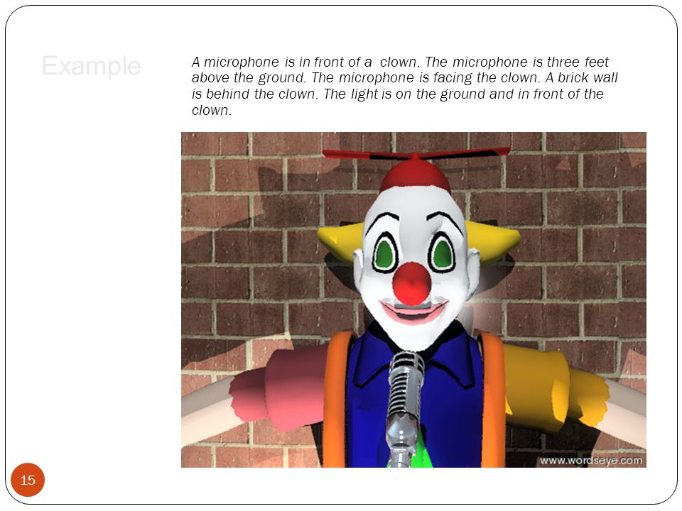 A microphone is in front of a clown. The microphone is three feet above the ground. The microphone is facing the clown. A brick wall is behind the clo