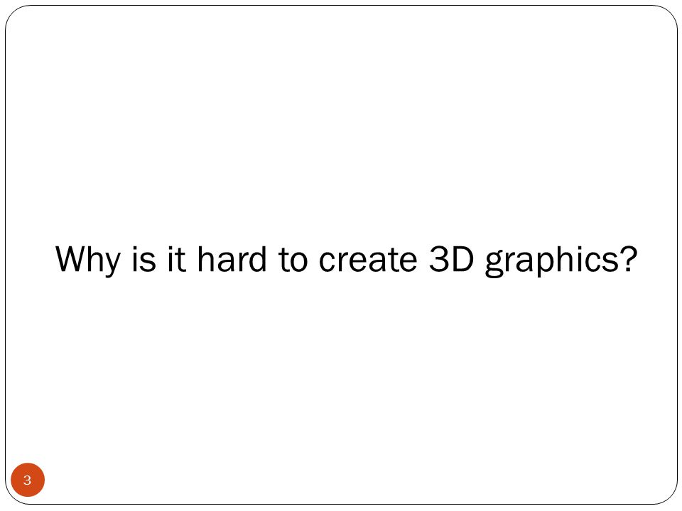 Why is it hard to create 3D graphics? 3