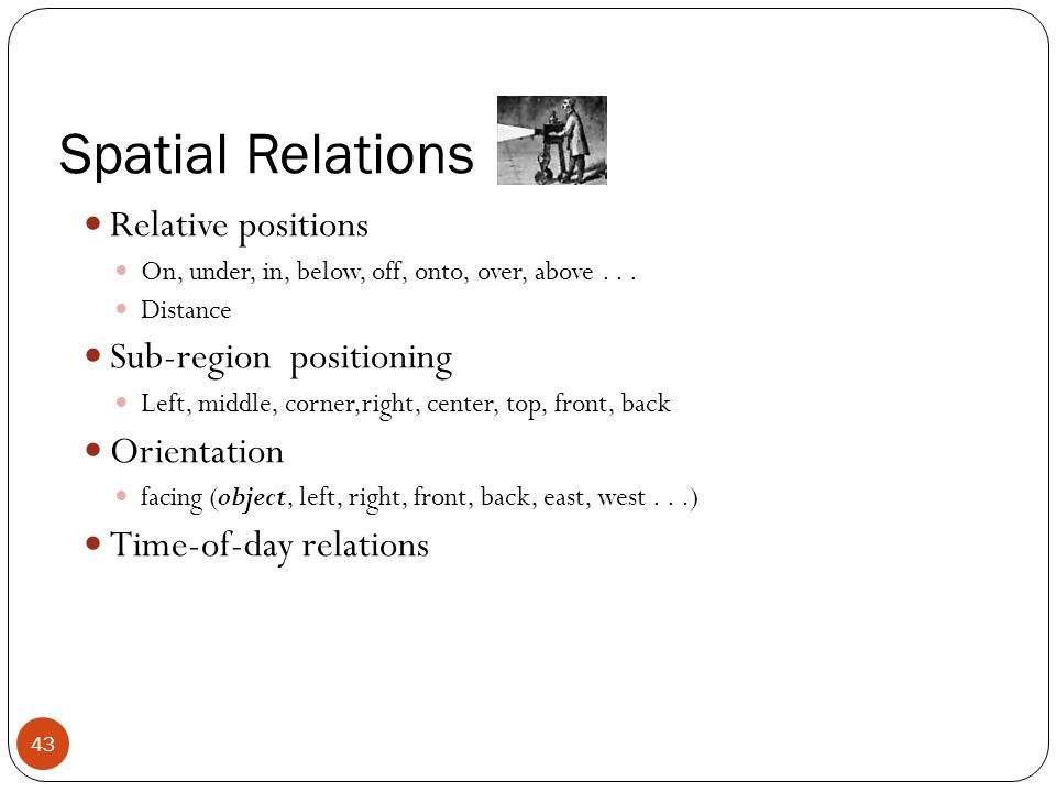 Spatial Relations Relative positions On, under, in, below, off, onto, over, above... Distance Sub-region positioning Left, middle, corner,right, cente
