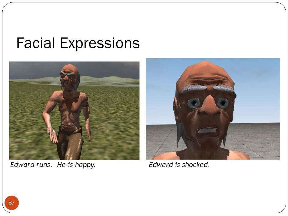 Facial Expressions Edward runs. He is happy.Edward is shocked. 57
