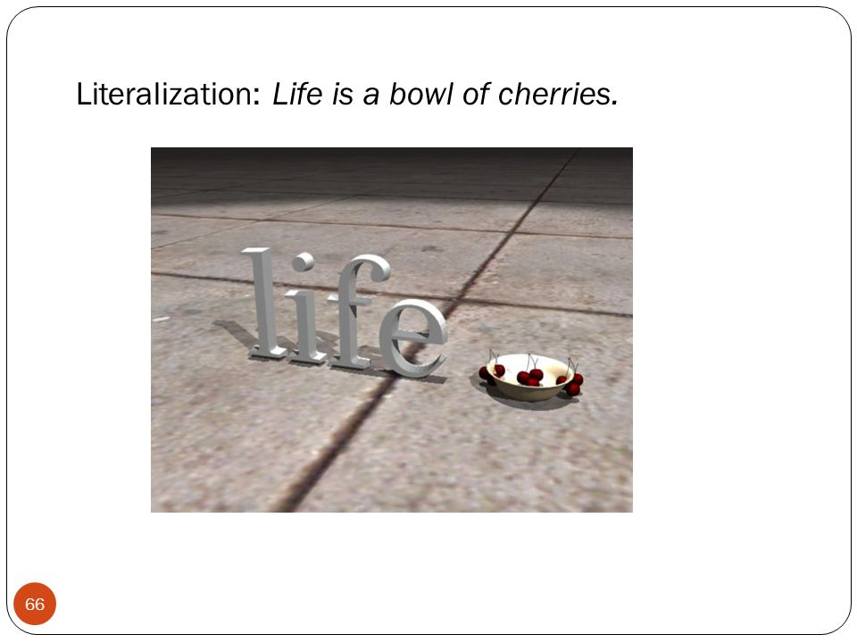 Literalization: Life is a bowl of cherries. 66