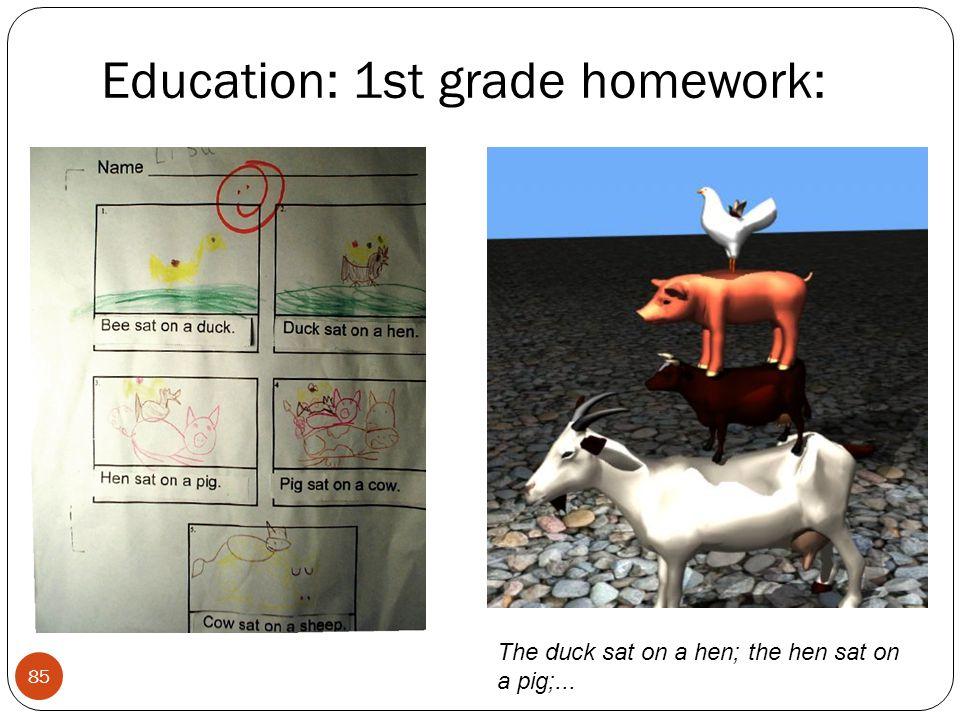 Education: 1st grade homework: 85 The duck sat on a hen; the hen sat on a pig;...