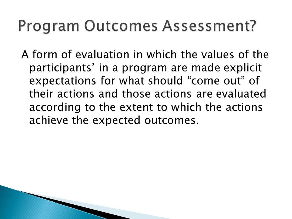 Improving Programs Program Outcomes Program Criteria Program Values