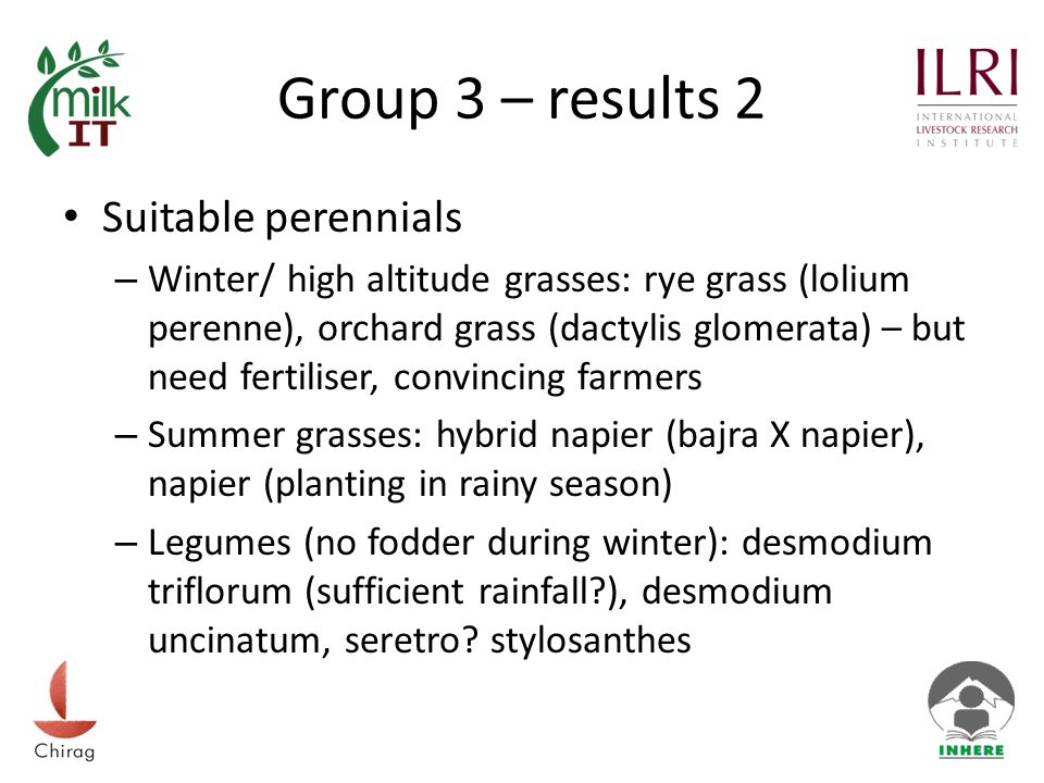 Group 3 – results 3 When improving grass-lands protection (fences) is required (grazing, wild animals), especially for hybrid napier (trees less susceptable) At the moment development is focussed only on forest and community land (van panchayat) and mostly on trees (biomass production?) Annual yields: – trees (grevia: 2x2m; 1 picking 10-12kg/tree, 2 pickings 14- 16kg/tree; quercus leucotrichophora, pollarded: 140-150 qtl/ha – current grasses: heteropogon (kumaria) & chrysopogon (khumaria) 50-70 qtl/ha – Improved winter grasses (with water): 300-500 qtl/ha – Summer/rainy season grasses: hybrid napier 800 qtl/ha
