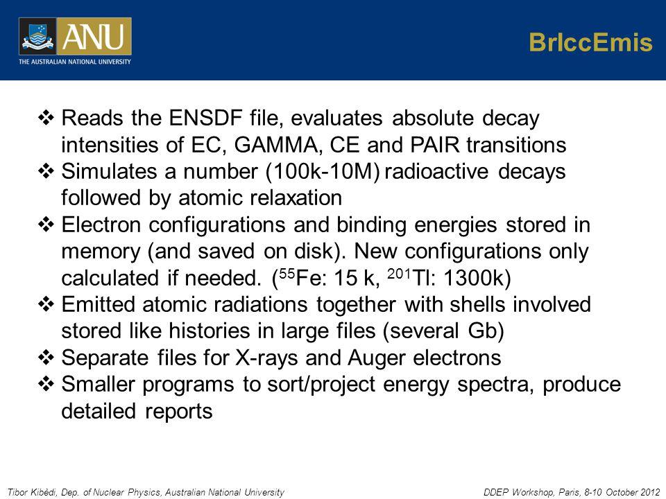 Tibor Kibèdi, Dep. of Nuclear Physics, Australian National UniversityDDEP Workshop, Paris, 8-10 October 2012 BrIccEmis  Reads the ENSDF file, evaluat