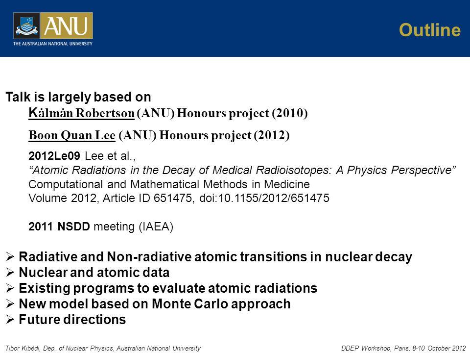 Tibor Kibèdi, Dep. of Nuclear Physics, Australian National UniversityDDEP Workshop, Paris, 8-10 October 2012 Outline Talk is largely based on K lmn Ro