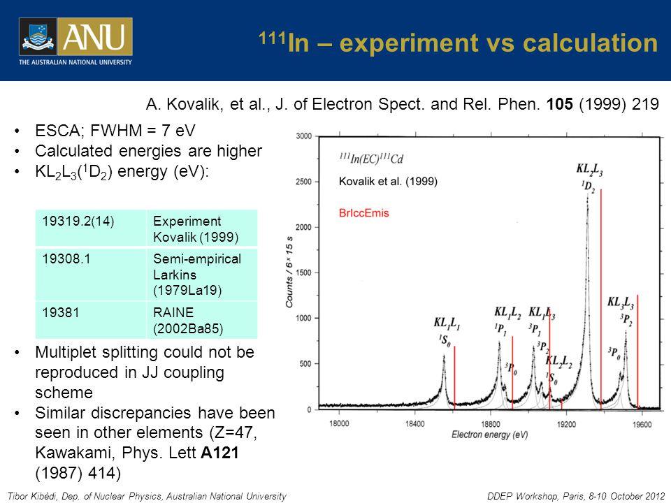 Tibor Kibèdi, Dep. of Nuclear Physics, Australian National UniversityDDEP Workshop, Paris, 8-10 October 2012 111 In – experiment vs calculation A. Kov