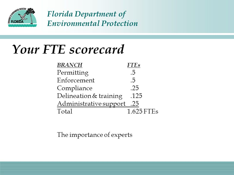 Florida Department of Environmental Protection Your FTE scorecard BRANCHFTEs Permitting.5 Enforcement.5 Compliance.25 Delineation & training.125 Admin