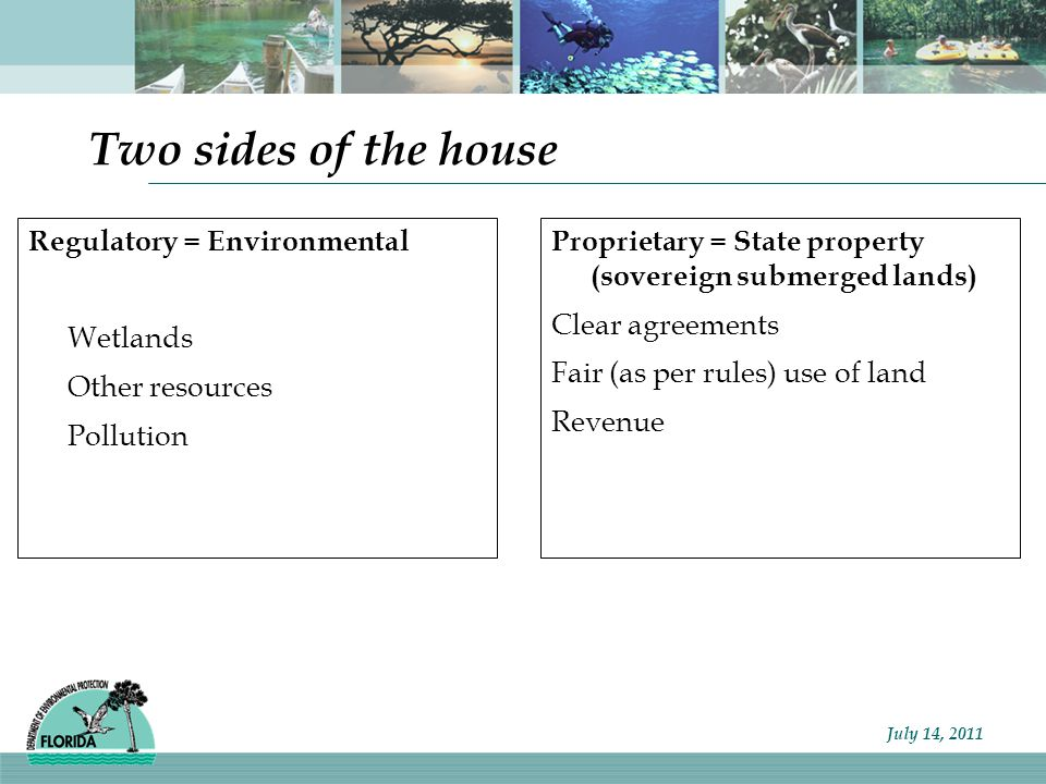 Florida Department of Environmental Protection You need an Environmental Resource Permit (ERP) for… Most land alterations and construction in uplands, wetlands, and other surface waters As per 62-343.050(1), F.A.C.