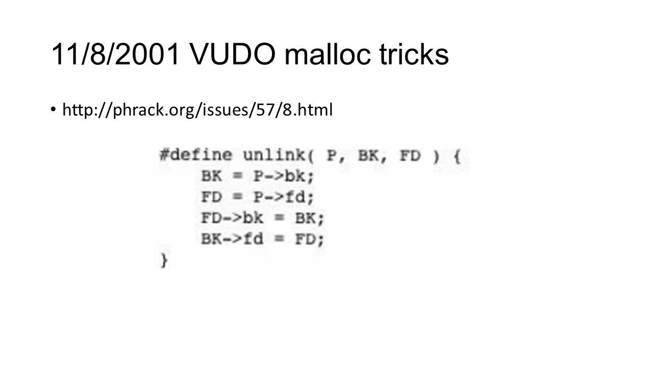 11/8/2001 VUDO malloc tricks http://phrack.org/issues/57/8.html