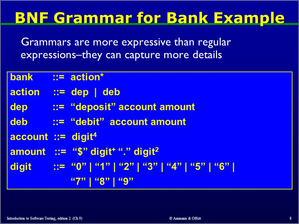 © Ammann & Offutt 8 BNF Grammar for Bank Example Grammars are more expressive than regular expressions–they can capture more details bank ::= action* action ::= dep | deb dep ::= deposit account amount deb ::= debit account amount account ::= digit 4 amount ::= $ digit + . digit 2 digit ::= 0 | 1 | 2 | 3 | 4 | 5 | 6 | 7 | 8 | 9 Introduction to Software Testing, edition 2 (Ch 9)
