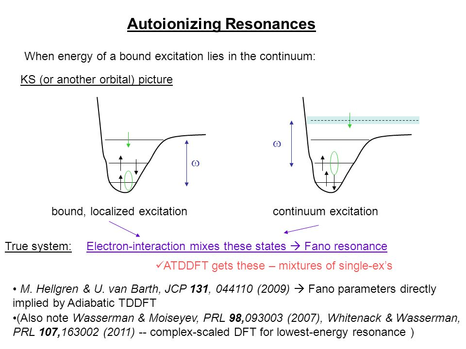 Autoionizing Resonances When energy of a bound excitation lies in the continuum: bound, localized excitationcontinuum excitation   Electron-interact