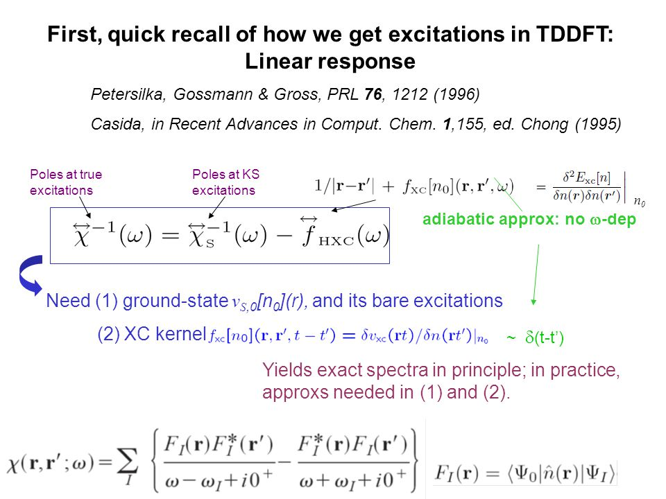 Poles at KS excitations Poles at true excitations Need (1) ground-state v S,0 [n 0 ](r), and its bare excitations (2) XC kernel Yields exact spectra i