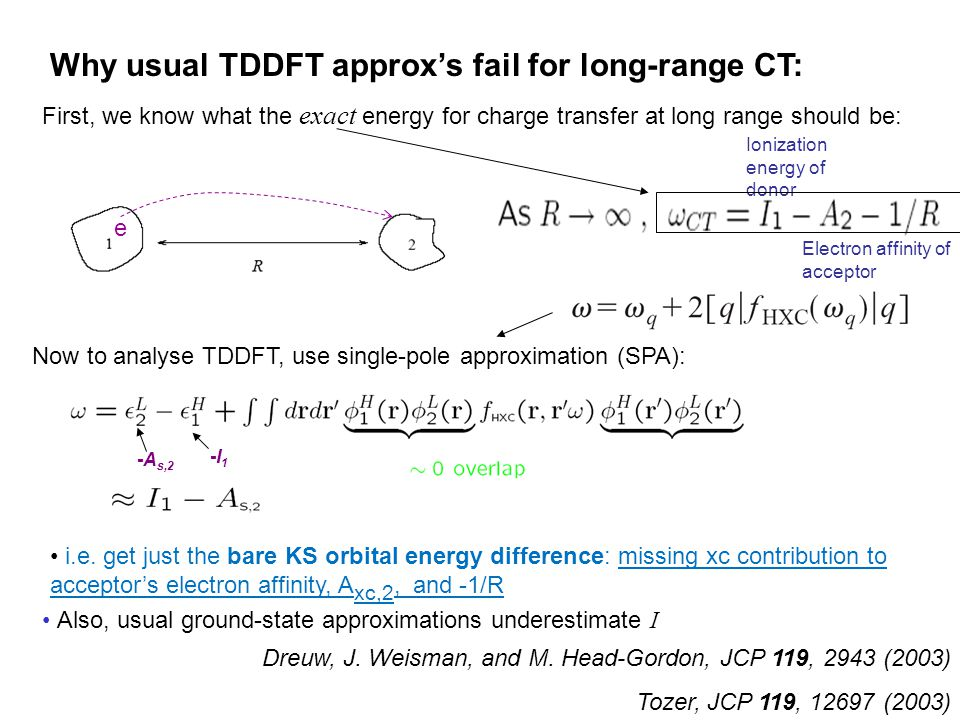 e First, we know what the exact energy for charge transfer at long range should be: Now to analyse TDDFT, use single-pole approximation (SPA): Why usu