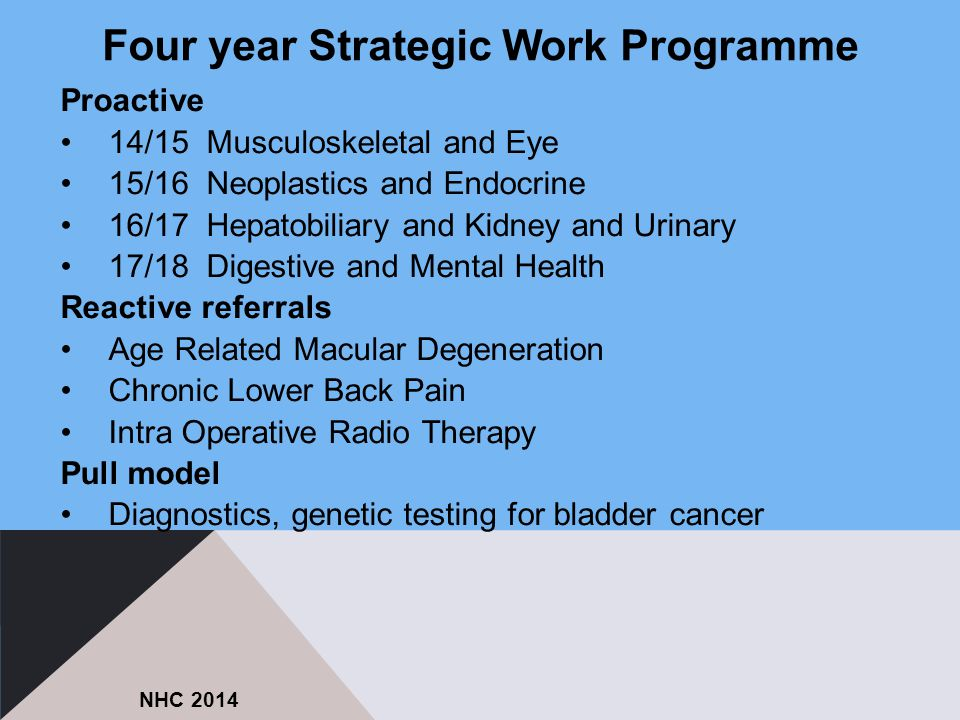 Proactive 14/15 Musculoskeletal and Eye 15/16 Neoplastics and Endocrine 16/17 Hepatobiliary and Kidney and Urinary 17/18 Digestive and Mental Health R