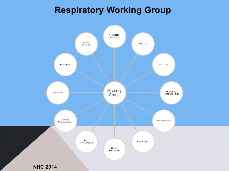 Advisory Group Respiratory Physician DHB P & FDHB COO Respiratory Nurse Specialist PhysiotherapistPsychologist General Practitioner PHO Representative Patient Representative AmbulancePharmacist Thoracic Surgeon NHC 2014 Respiratory Working Group