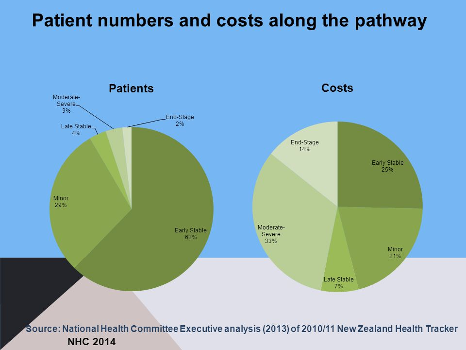 Patient numbers and costs along the pathway NHC 2014 Source: National Health Committee Executive analysis (2013) of 2010/11 New Zealand Health Tracker