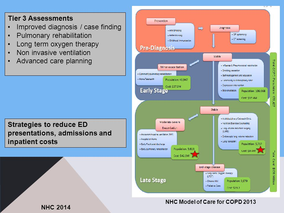 NHC Model of Care for COPD 2013 NHC 2014 Tier 3 Assessments Improved diagnosis / case finding Pulmonary rehabilitation Long term oxygen therapy Non invasive ventilation Advanced care planning Strategies to reduce ED presentations, admissions and inpatient costs