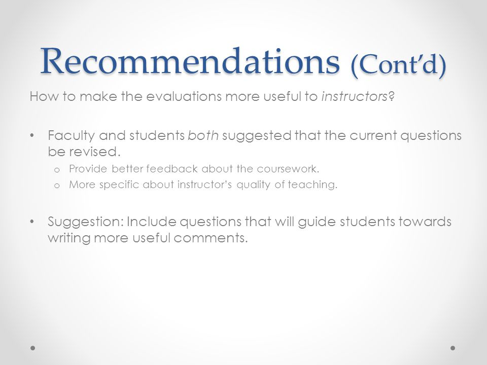 Prompts for Written Comments Baruch's written comments section is vague.
