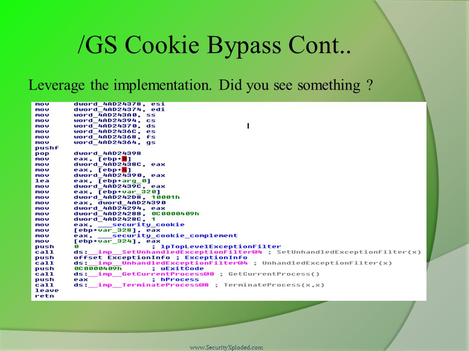 /GS Cookie Bypass Cont..Leverage the implementation.