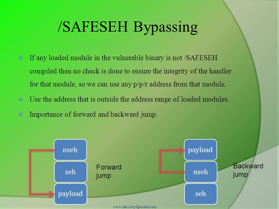 /SAFESEH Bypassing  If any loaded module in the vulnerable binary is not /SAFESEH compiled then no check is done to ensure the integrity of the handler for that module, so we can use any p/p/r address from that module.