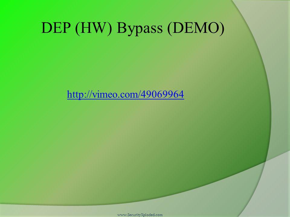 DEP (HW) Bypass (DEMO) http://vimeo.com/49069964 www.SecurityXploded.com