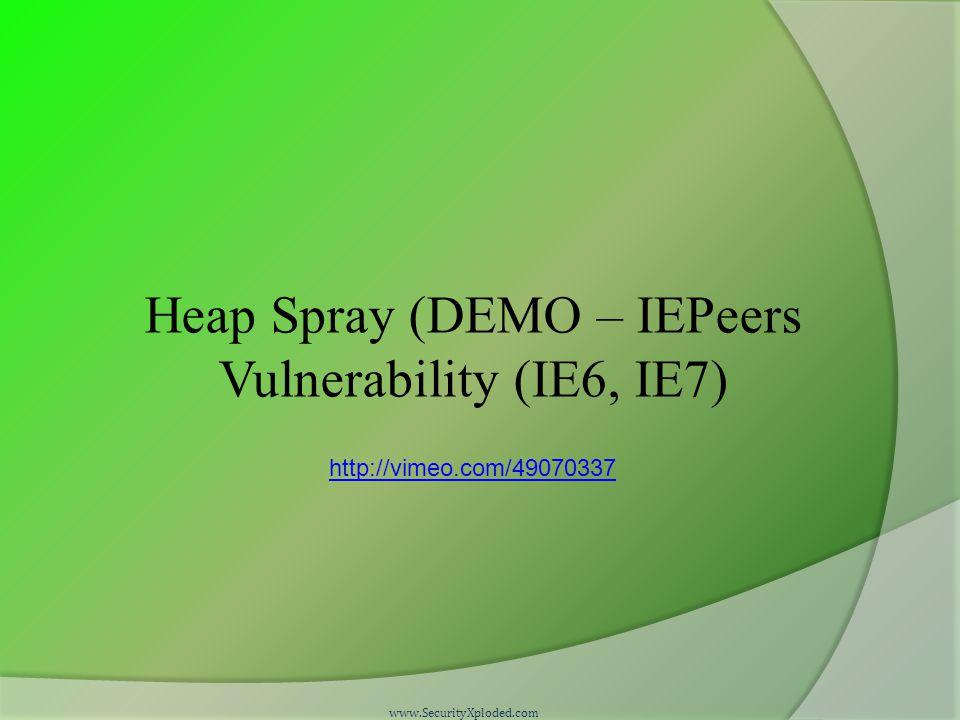 Heap Spray (DEMO – IEPeers Vulnerability (IE6, IE7) www.SecurityXploded.com http://vimeo.com/49070337