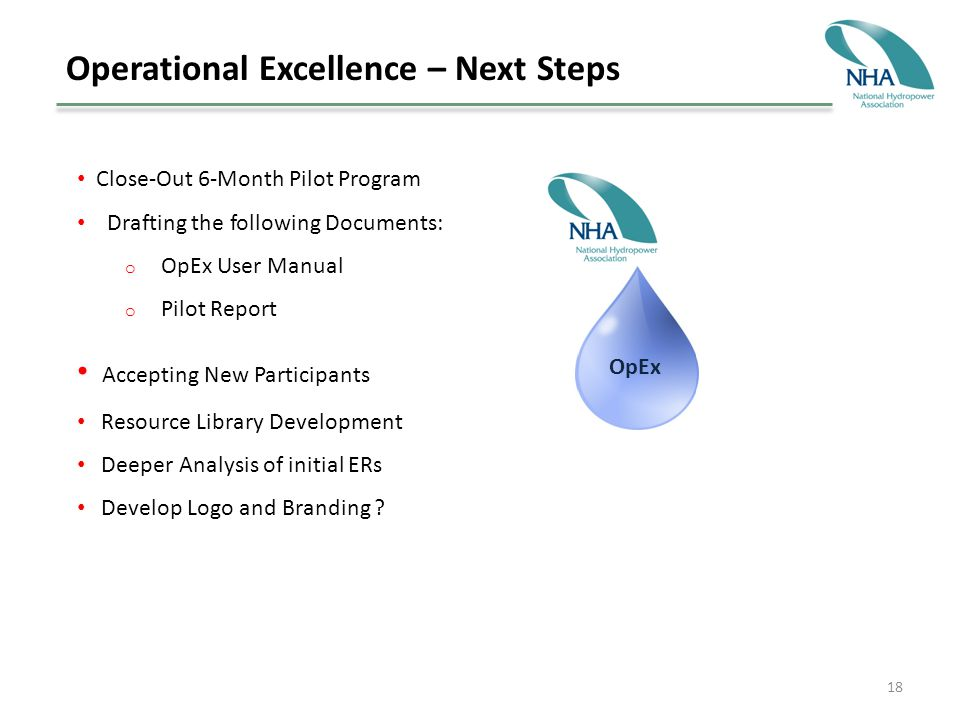 18 Operational Excellence – Next Steps Close-Out 6-Month Pilot Program Drafting the following Documents: o OpEx User Manual o Pilot Report Accepting New Participants Resource Library Development Deeper Analysis of initial ERs Develop Logo and Branding .