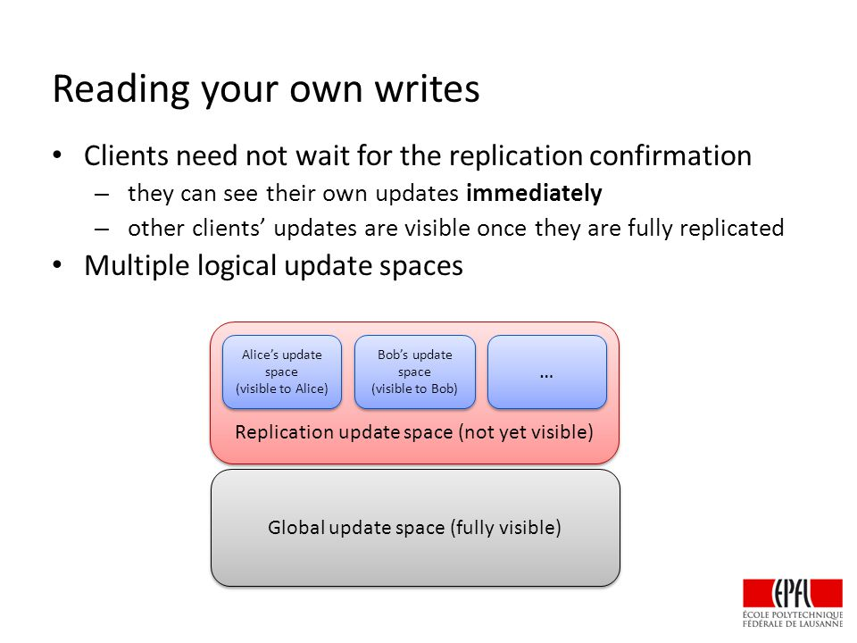 Reading your own writes Clients need not wait for the replication confirmation – they can see their own updates immediately – other clients' updates are visible once they are fully replicated Multiple logical update spaces Global update space (fully visible) Replication update space (not yet visible) Alice's update space (visible to Alice) Alice's update space (visible to Alice) Bob's update space (visible to Bob) Bob's update space (visible to Bob) … …