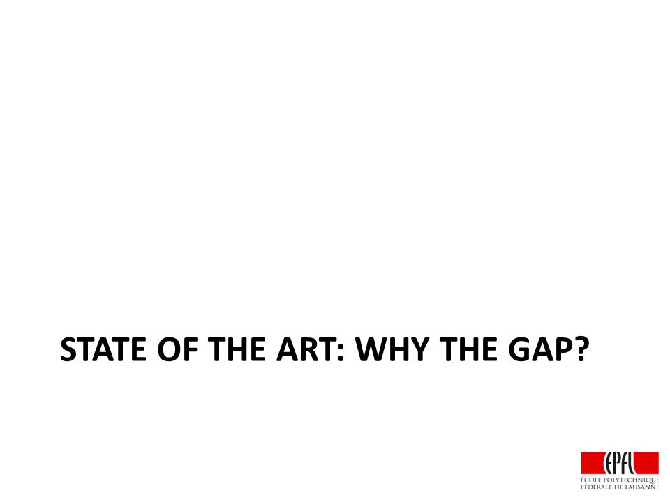 STATE OF THE ART: WHY THE GAP?