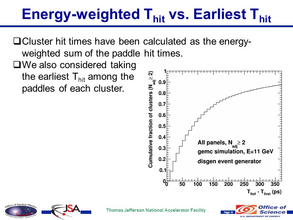 Thomas Jefferson National Accelerator Facility Page 13 Energy-weighted T hit vs. Earliest T hit  Cluster hit times have been calculated as the energy
