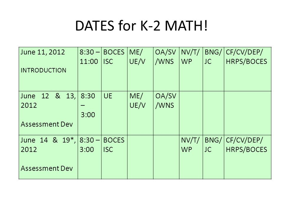 DATES for K-2 MATH! June 11, 2012 INTRODUCTION 8:30 – 11:00 BOCES ISC ME/ UE/V OA/SV /WNS NV/T/ WP BNG/ JC CF/CV/DEP/ HRPS/BOCES June 12 & 13, 2012 As