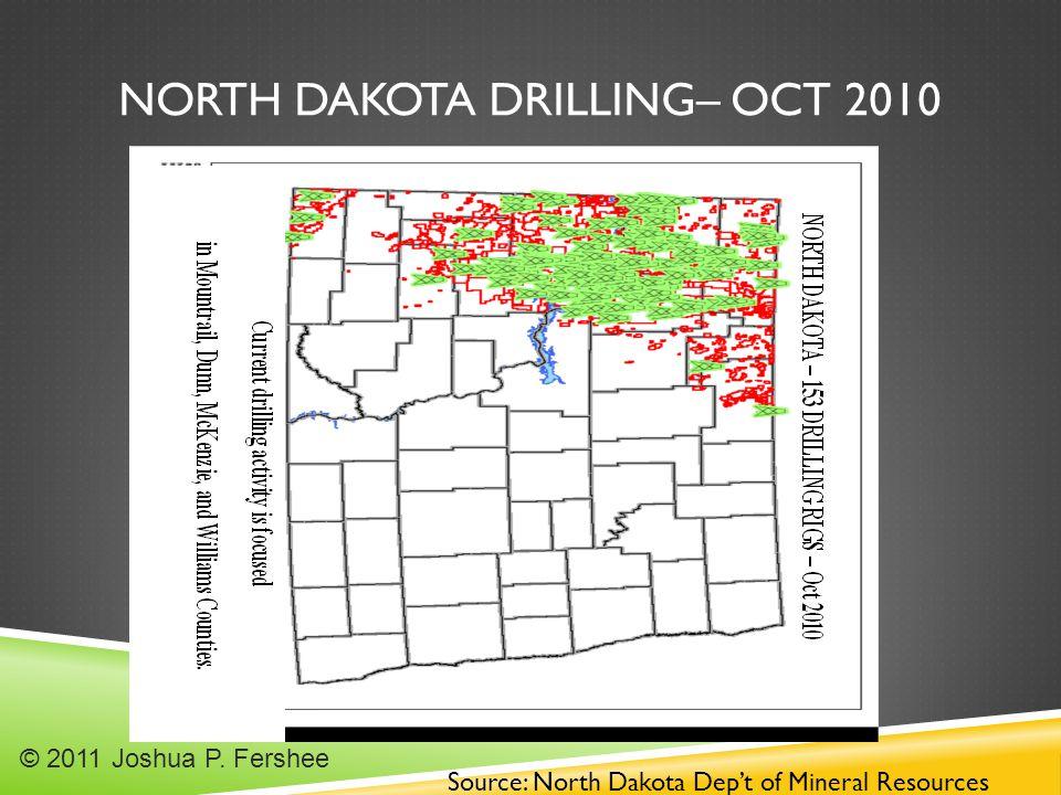 NORTH DAKOTA DRILLING– OCT 2010 Source: North Dakota Dep't of Mineral Resources © 2011 Joshua P.
