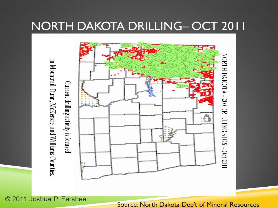 NORTH DAKOTA DRILLING– OCT 2011 Source: North Dakota Dep't of Mineral Resources © 2011 Joshua P.