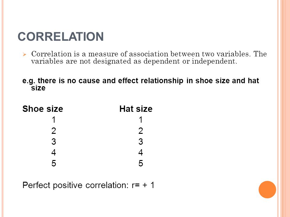 CORRELATION  Correlation is a measure of association between two variables.