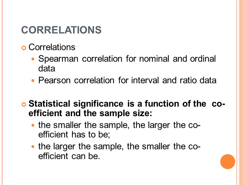 CORRELATIONS Correlations Spearman correlation for nominal and ordinal data Pearson correlation for interval and ratio data Statistical significance is a function of the co- efficient and the sample size: the smaller the sample, the larger the co- efficient has to be; the larger the sample, the smaller the co- efficient can be.