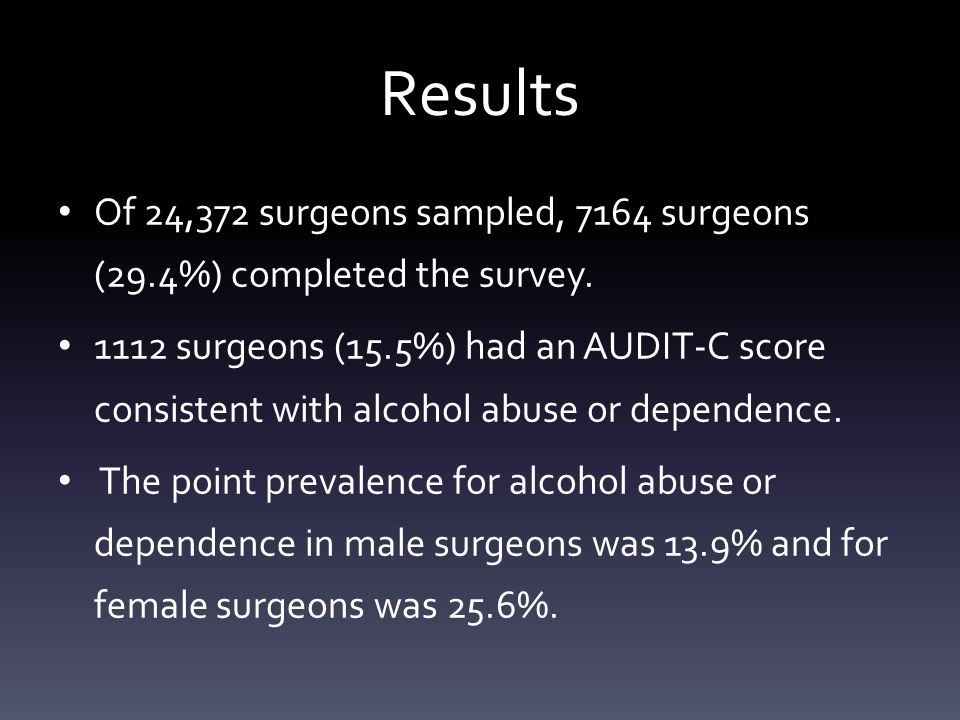 Results Of 24,372 surgeons sampled, 7164 surgeons (29.4%) completed the survey.