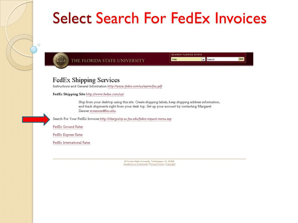 Select Search For FedEx Invoices
