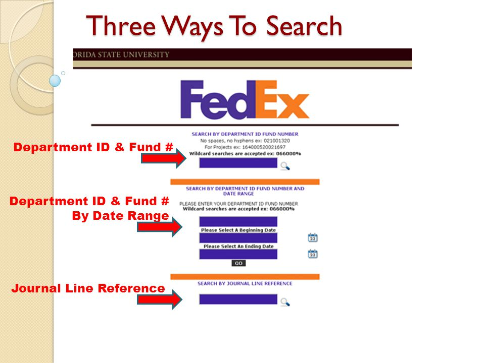 Three Ways To Search Department ID & Fund # By Date Range Journal Line Reference