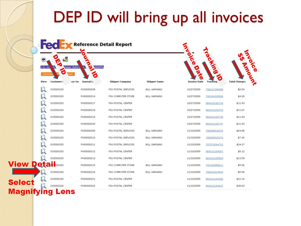 DEP ID will bring up all invoices DEP ID Invoice Date Tracking ID Invoice $$ Amount Journal ID View Detail Select Magnifying Lens