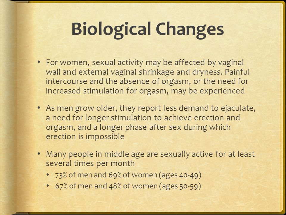 Biological Changes  For women, sexual activity may be affected by vaginal wall and external vaginal shrinkage and dryness. Painful intercourse and th