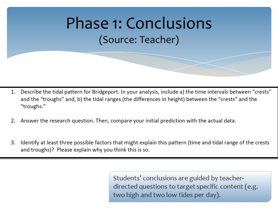 Phase 1: Conclusions (Source: Teacher) Students' conclusions are guided by teacher- directed questions to target specific content (e.g.