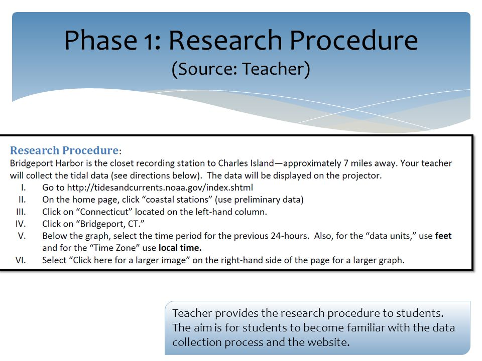 Phase 1: Research Procedure (Source: Teacher) Teacher provides the research procedure to students.