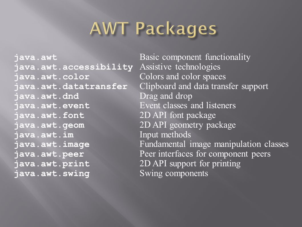 java.awt Basic component functionality java.awt.accessibility Assistive technologies java.awt.color Colors and color spaces java.awt.datatransfer Clip