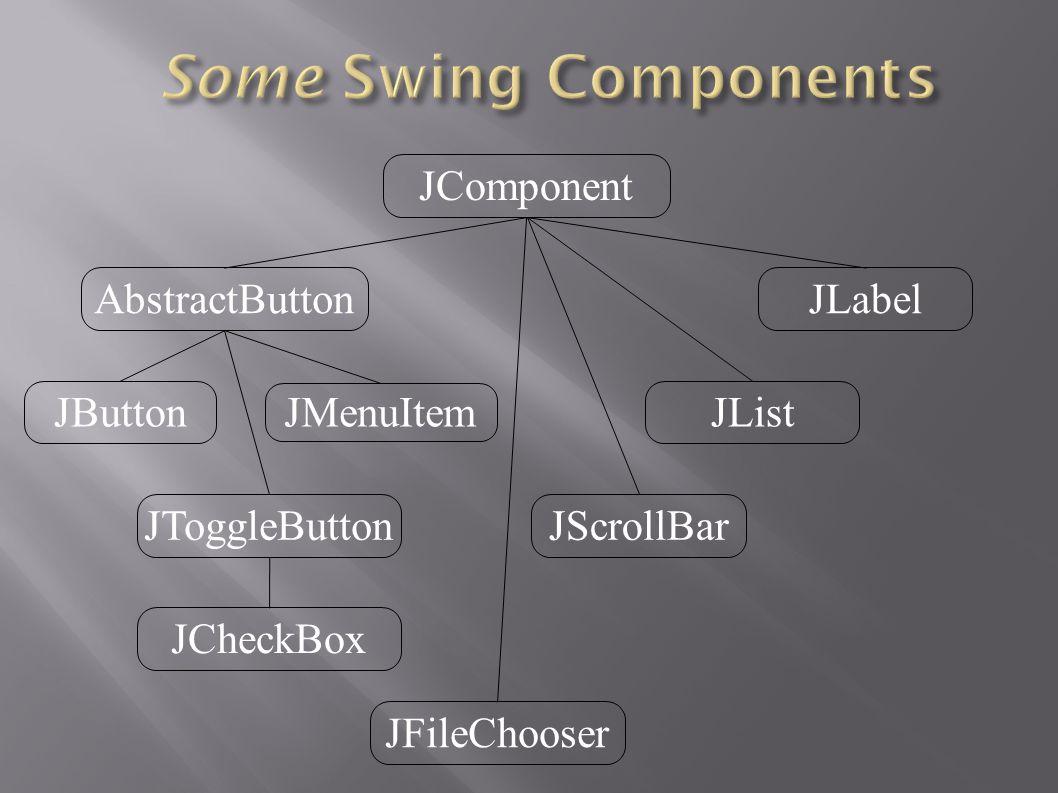 JComponent AbstractButton JButton JMenuItem JToggleButton JCheckBox JLabel JList JScrollBar JFileChooser