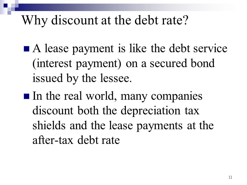Why discount at the debt rate.