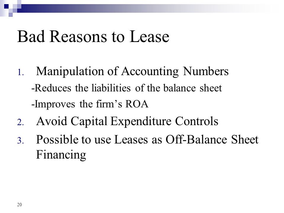 20 Bad Reasons to Lease 1.