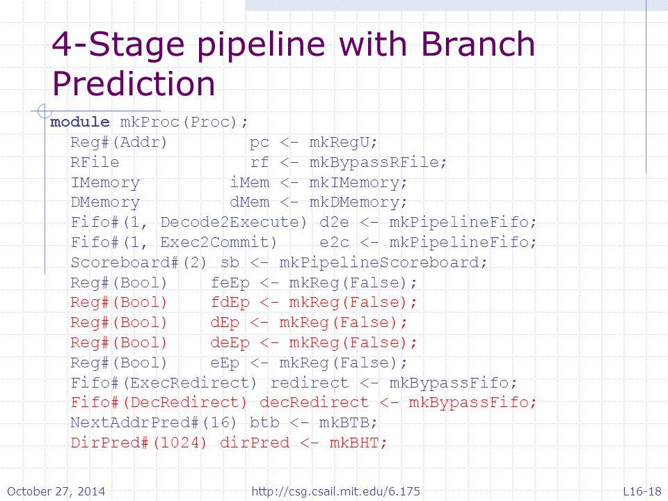 4-Stage pipeline with Branch Prediction module mkProc(Proc); Reg#(Addr) pc <- mkRegU; RFile rf <- mkBypassRFile; IMemory iMem <- mkIMemory; DMemory dMem <- mkDMemory; Fifo#(1, Decode2Execute) d2e <- mkPipelineFifo; Fifo#(1, Exec2Commit) e2c <- mkPipelineFifo; Scoreboard#(2) sb <- mkPipelineScoreboard; Reg#(Bool) feEp <- mkReg(False); Reg#(Bool) fdEp <- mkReg(False); Reg#(Bool) dEp <- mkReg(False); Reg#(Bool) deEp <- mkReg(False); Reg#(Bool) eEp <- mkReg(False); Fifo#(ExecRedirect) redirect <- mkBypassFifo; Fifo#(DecRedirect) decRedirect <- mkBypassFifo; NextAddrPred#(16) btb <- mkBTB; DirPred#(1024) dirPred <- mkBHT; October 27, 2014http://csg.csail.mit.edu/6.175L16-18