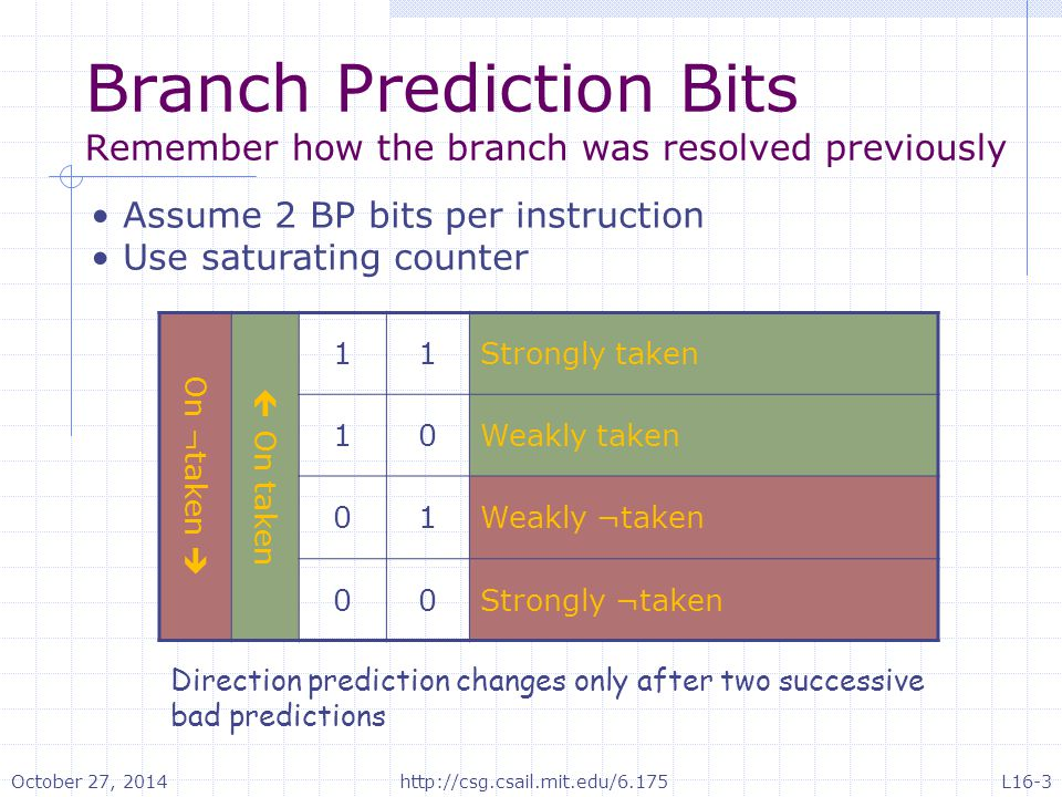 Two-bit versus one-bit Branch prediction Consider the branch instruction needed to implement a loop with one bit, the prediction will always be set incorrectly on loop exit with two bits the prediction will not change on loop exit A little bit of hysteresis is good in changing predictions October 27, 2014http://csg.csail.mit.edu/6.175L16-4